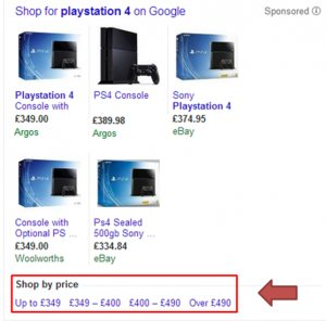 Google's shop by price functionality