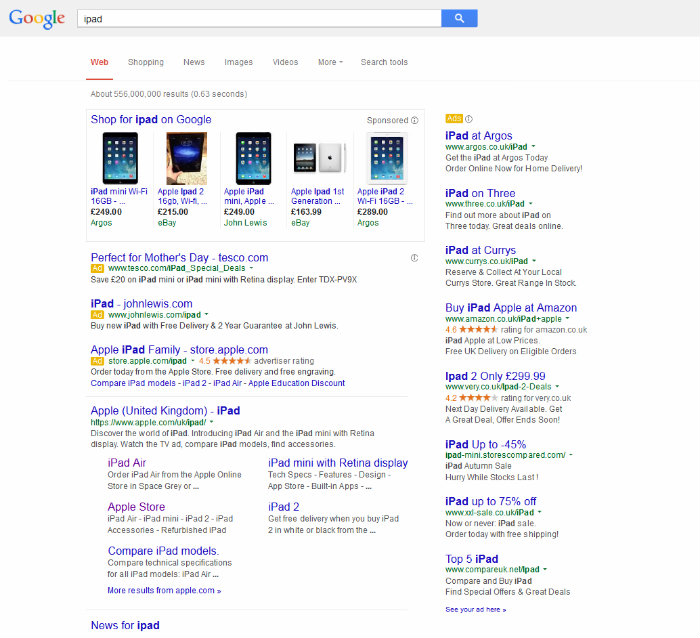 PLA ads top the Google SERP