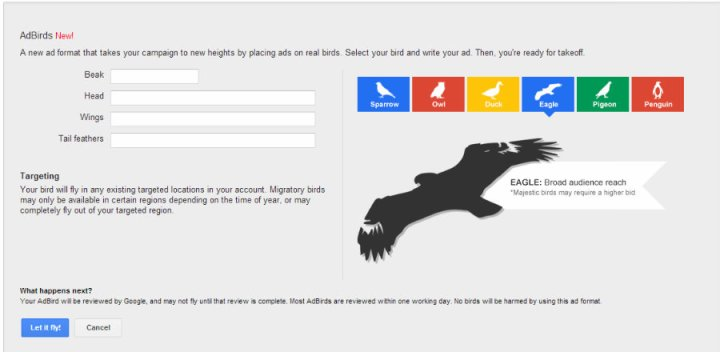 Google launched 'AdBirds' - a play on words for April Fools' Day