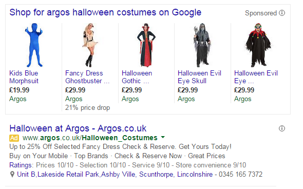 Example of price drop annotations in Google Shopping