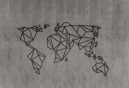 a stylised image of a world map using thick, straight black lines