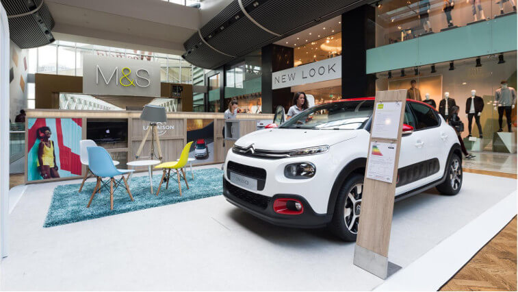 Automovitve pop up stand in westfield mall Peugeot