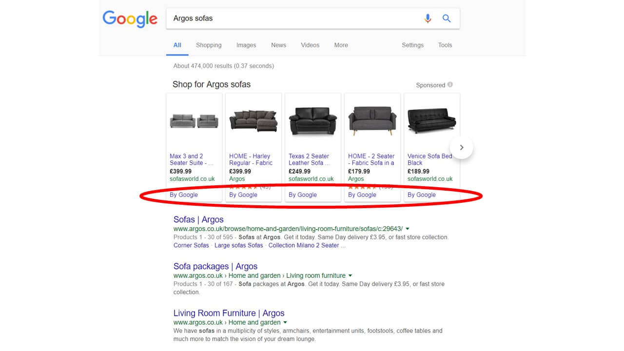 Example of changes to Google Shopping