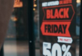 """out of focus window sign reads """"BLACK FRIDAY"""""""
