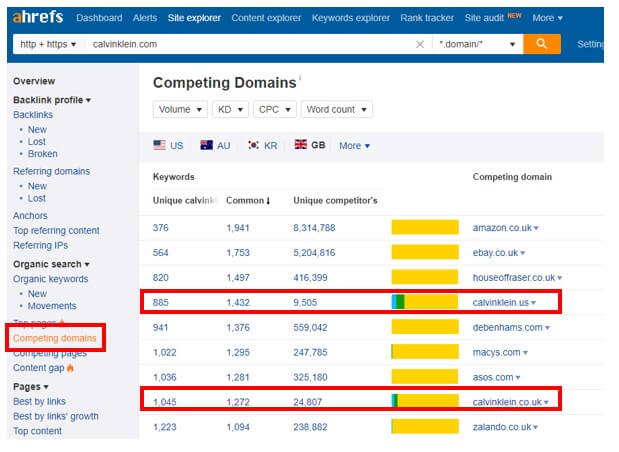 competing domains - Brighton SEO
