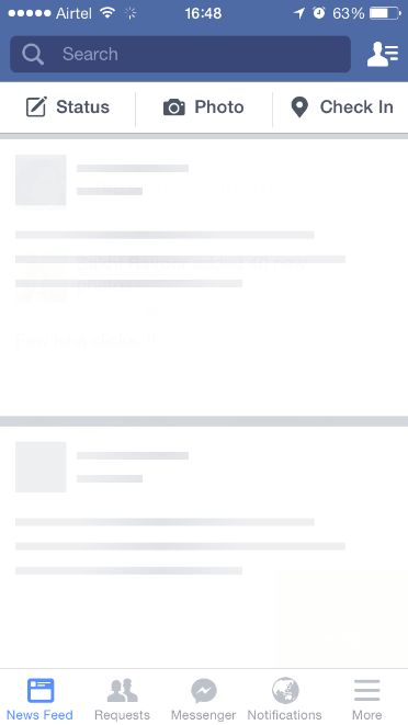 Facebook skeleton load page