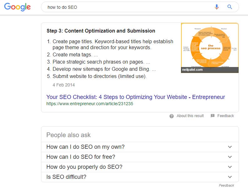 Google position 0 screenshot