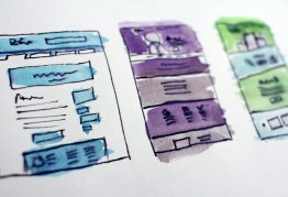 watercolour layouts for webpages and apps, painted on a canvas