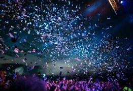 confetti fills the air at a celebration