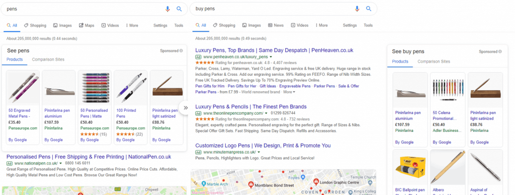 Google Ad positions - fig. 2