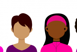 four cartoon women of different sizes and races stand facing forward