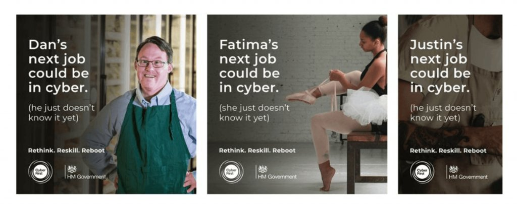 """the government ad for """"retraining"""" during the pandemic showing a ballerina with the text reading; Fatima's next job could be in cyber. She just doesn't know it yet."""