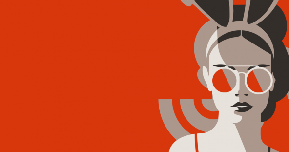 a vector image of a woman in bunny ears and sunglasses sits in front of the Summit S on a red background