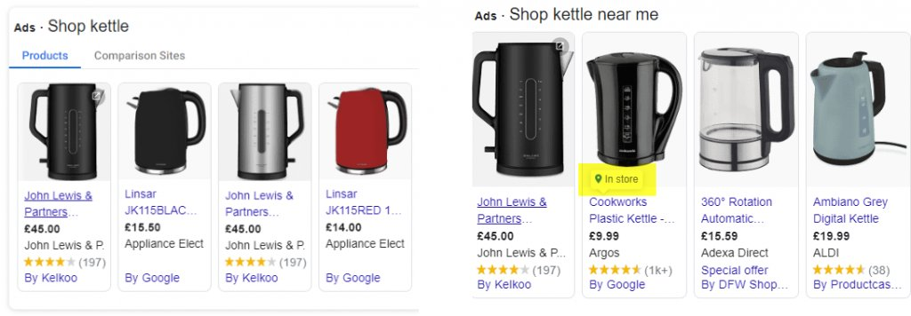 an image showing a side by side comparison of a PLA and LIA shopping ad - the user has searched for kettles