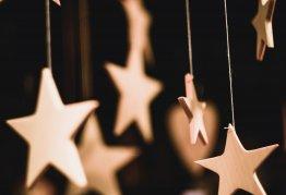 hanging golden wooden stars