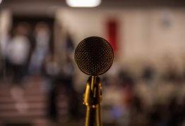 a gold microphone