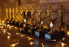 Gold Oscar Award Trophies and Stars